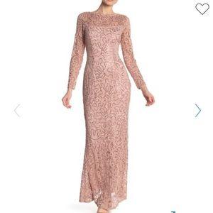 Marina Rose Pink Lace Sequin Long Maxi Dress